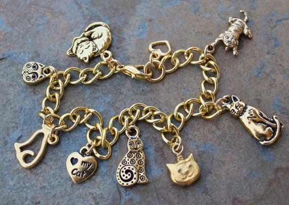 Love My Cat charm bracelet - 22k gold plated pewter cat charms on a chunky gold plated chain -Free Shipping in USA