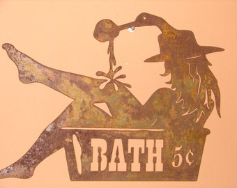Western WALL PLAQUE Cowgirl Sign Home Decor Lg Bath 5 Cents