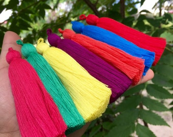 """4"""" Luxe Long Cotton Tassels with Braided Loop, Handmade Cotton Tassels, Jewelry Making, Adornments, Decoration / Pick your colors"""