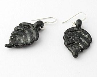 Black Leaf Lampwork Earrings