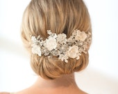 Wedding Lace Headpiece,  Pearl Beaded Lace Vine, Wedding Headpiece, Floral Wedding Hair Accessory