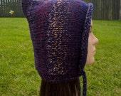 Milky Way elf hood with ties shades of purple with yellow gold burgundy highlights wool OOAK