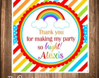 Printable Rainbow Favor Tags , DIY Rainbow Thank you Tags, Rainbow Birthday Party