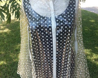 Rain Cape Clear Vinyl White Polka Dots 1960s Large Size