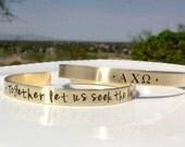 Alpha Chi Omega Bracelet - Gold Cuff Bracelet Sorority Motto Brass Bracelet, Greek Letters Big Little Gift Sorority Recruitment Gift