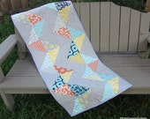 Quilted Chevron Bed Runner, Large Table Runner Mixology