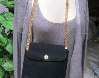 Vintage black suede Susan Gail chain strap handbag, classic black hard structured suede shoulder bag, special event black suede chain strap