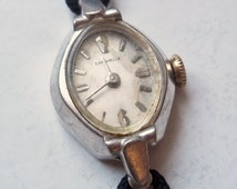 Vintage Ladies' Bulova Caravelle Watch - Dainty 1960s 7 Jewel Watch - Runs, Keeps Time - New-Old-Stock Black Cord Band - White Metal Watch