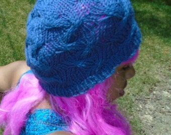cable knit blue beanie