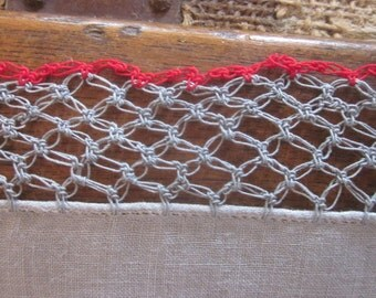 Antique Lovers Knot Crocheted Lace Hankerchief in Grey