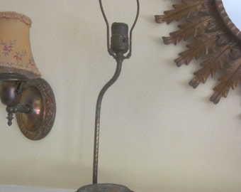Vintage Patinized Lamp Base Column Socket and Harp