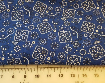 Blue Bandanna Print Cotton over 3yd