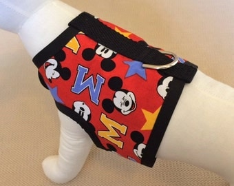Dog harness Vest Made From Mickey Mouse Fabric
