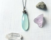 Extra Long Aqua Chalcedony Necklace in Sterling Silver - Boho Crystal Necklace