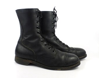 Combat Boots Vintage 1980s Steel toe Black Leather Lace Up Grunge Men's size 12 R
