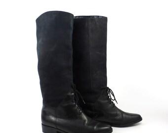 Black Leather Boots Vintage 1980s Seychelles Lace up detail Women's size 6 M