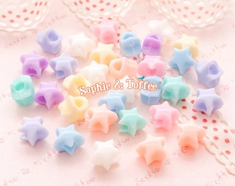 Pastel Star Beads Big Hole (10mm) / Pastel Beads / Acrylic Heart Beads - 50g (155pcs approx.)