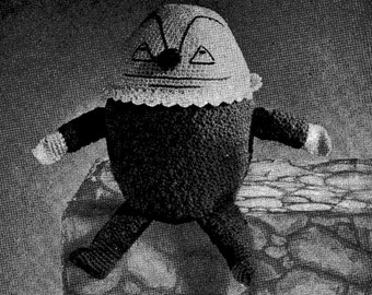 Crochet PATTERN Humpty Dumpty 4 sizes of Humpty Dumpty dolls 7 10 13 & 15 inches  1940s Nursery Rhyme toys PDF instant download