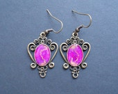 AMBROSIA AFFORDABLES 14 x 10 mm Earrings Pink/Magenta Purple Gold