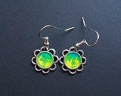 AMBROSIA AFFORDABLES 13 x13 mm Earrings Silver Yellow Green Blue