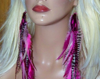 Pink Feather Earrings, Pink and Black Feather Earrings, Black and White Feather Earrings, Pink Hair Extension, Pink Feather Extension