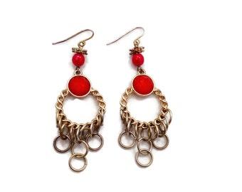 Gypsy Earrings, Gold Tone, Big Earrings, Vintage Earrings, Boho Jewelry, Long, Ethnic Tribal, Dangles, Statement Earrings - InVintageHeaven