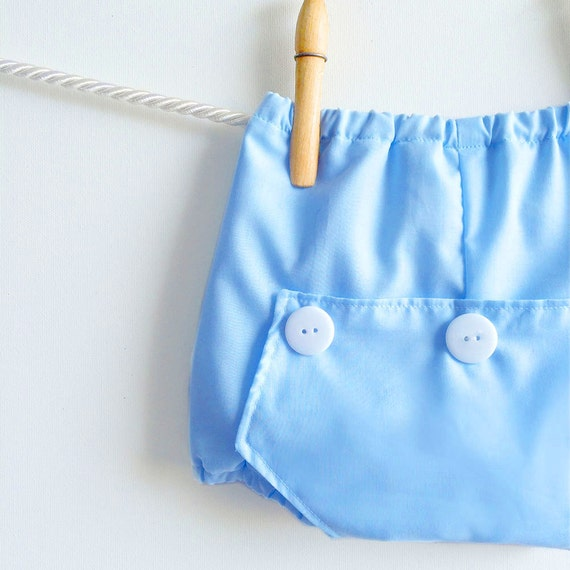 Baby Blue Long John Diaper Covers   Boy Bloomers   Boys Cake Smash Outfit   Newborn Photo Prop   Infant Cotton Bubble Shorts
