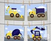 Set of 4 Construction Trucks Boys Bedroom Nursery 8 x 10 ART PRINTS