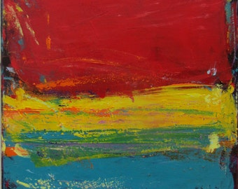 Art Red Yellow Turquoise Original Painting Abstract Modern Landscape, 24 x 24 inches