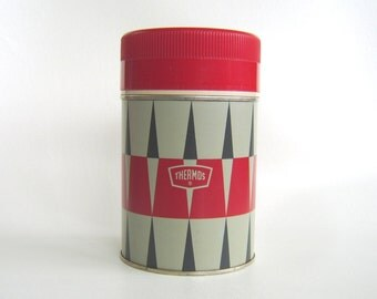 Vintage Diamond Thermos Red Black Grey Mid Century King Seeley