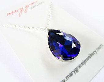 Cobalt Blue Glass Jewel Pendant Necklace , vintage glam
