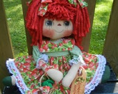 Primitive Raggedy Ann Doll  Country Strawberry Dress with Handmade Strawberries in Basket Reserved for Kim Kay
