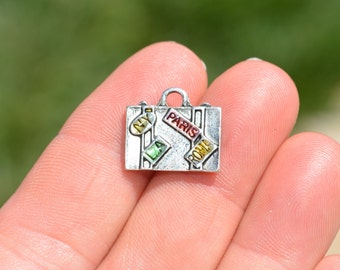 5 Silver Suitcase Charms SC2938