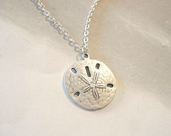 Silver Sand Dollar Necklace Silver Sand Dollar Pendant Beach Jewelry Sanddollar Necklace