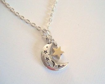 Half Moon Star Necklace Moon Necklace Crescent Silver Moon Pendant Gold Star Necklace Moon Star Necklace Moon Jewelry