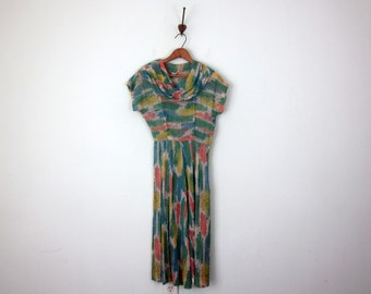 30s painterly print sheer cotton cowl neck dress (xs - s)