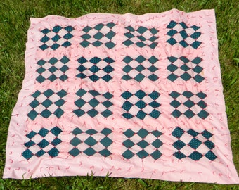 Vintage HANDMADE Quilt Mid Century Machine-Stitched Tied at Corners of 3x3 squares Pink Blue