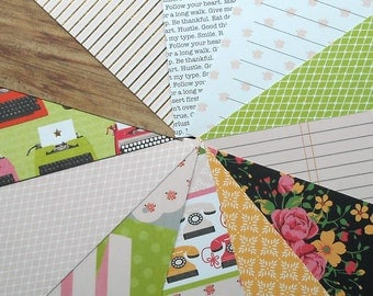 DESTASH - DCWV Hello Darling: Typewriter - Pack of 12 Different Scrapbook Papers, 6 inch X 6 inch