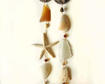Sea Glass Mobile Windchimes with Shells and Sea Glass, Beach Decor