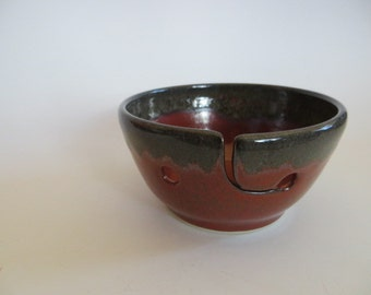 Ceramic Yarn Bowl, Knitting Bowl, Hand Made Pottery, Orange Red, In Stock, Yarn Holder, Julie Knowles Pottery, Yarn Bowl No. 18