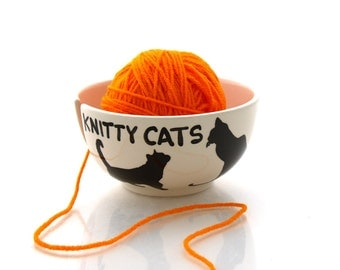 Halloween black cat, Yarn Bowl for Knitters and Cat Lovers, Knitty Cats, small ceramic yarn bowl for pet lover, crazy cat lady,  DL