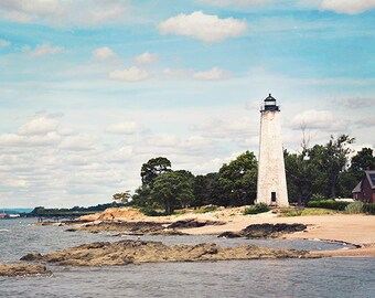 Lighthouse Photography, Beach Photography, Beach Landscape, Ocean Photography, Nautical, New Haven, New England Coast, Seaside Art, Shore