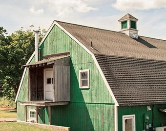 Green Barn Photograph, Emerald Barn, Barn Photography, Country Cottage, Rustic Photography, New England Barn, Barn Picture, Farm Photograph