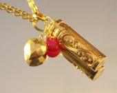 The Cassiopeia Golden Vermeil Prayer Vial with Bali Vermeil Puffed Heart, Hot Pink Quartz Briolette on Gold Tone Chain