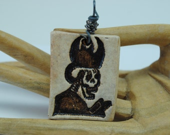 ceramic skull pendant clay necklace skeleton focal bead