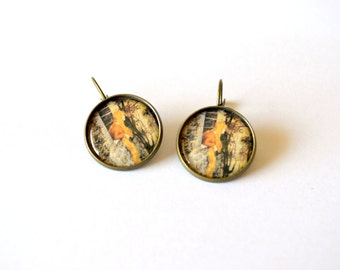 Rapunzel earrings. Thanksgiving, Halloween, autumn gift idea. Fairy tale. Old illustration. Antique bronze, round, leverback. Orange green.