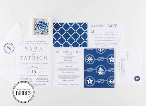 Nautical East Coast Wedding Invitations, As Seen in Brides Magazine, Anchor and Nautical Rope Theme