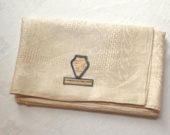 Vintage Damask Linen Tablecloth Czech Tea Cloth 52 Inches