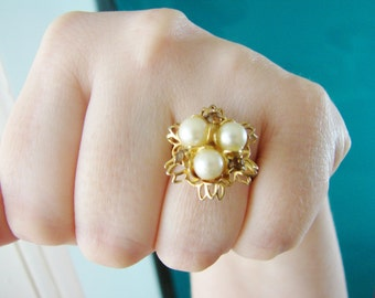 Vintage gold statement flower ring with amber crystals and white pearl accents- fully adjustable