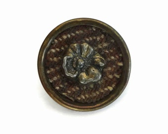 Antique Victorian Button - Large Vintage 1800s Tweed and Brass 1 1/8 inch for Jewelry Beads Sewing Knitting Edwardian Costume